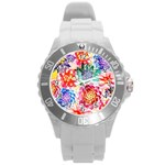 Colorful Succulents Round Plastic Sport Watch (L) Front