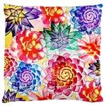 Colorful Succulents Large Cushion Case (One Side) Front