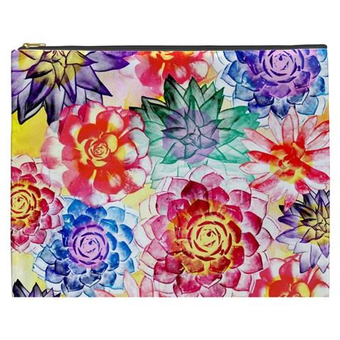 Colorful Succulents Cosmetic Bag (XXXL)