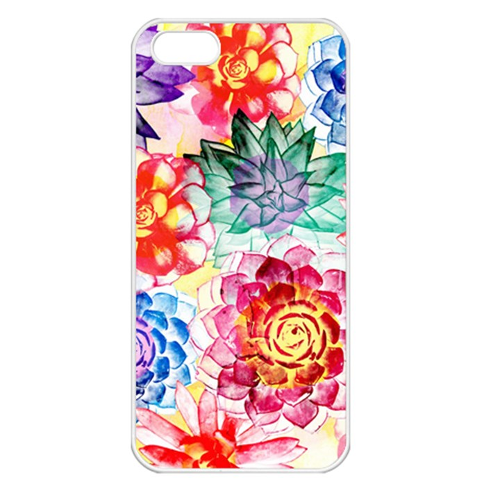 Colorful Succulents Apple iPhone 5 Seamless Case (White)
