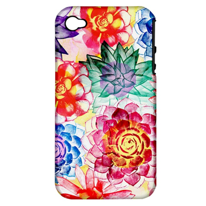 Colorful Succulents Apple iPhone 4/4S Hardshell Case (PC+Silicone)