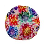 Colorful Succulents Standard 15  Premium Round Cushions Back