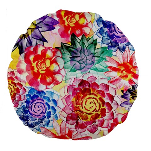 Colorful Succulents Large 18  Premium Round Cushions