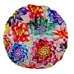 Colorful Succulents Large 18  Premium Round Cushions Back