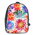 Colorful Succulents School Bags (XL)  Front