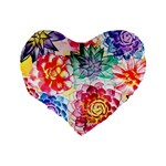 Colorful Succulents Standard 16  Premium Heart Shape Cushions Back
