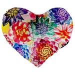 Colorful Succulents Large 19  Premium Heart Shape Cushions Front