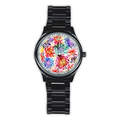 Colorful Succulents Stainless Steel Round Watch