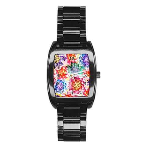 Colorful Succulents Stainless Steel Barrel Watch
