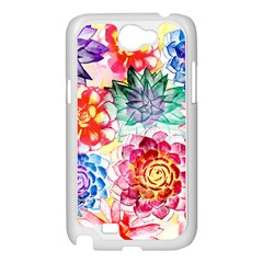 Colorful Succulents Samsung Galaxy Note 2 Case (White)