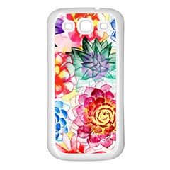 Colorful Succulents Samsung Galaxy S3 Back Case (White)