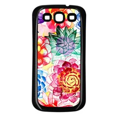 Colorful Succulents Samsung Galaxy S3 Back Case (Black)