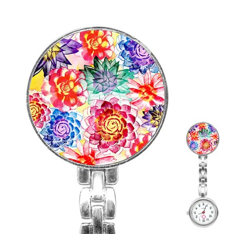 Colorful Succulents Stainless Steel Nurses Watch