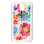 Colorful Succulents Samsung Galaxy Note 3 N9005 Case (White) Front