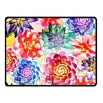 Colorful Succulents Double Sided Fleece Blanket (Small)  50 x40 Blanket Front