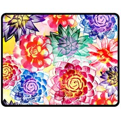 Colorful Succulents Double Sided Fleece Blanket (medium)