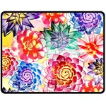 Colorful Succulents Double Sided Fleece Blanket (Medium)  60 x50 Blanket Back