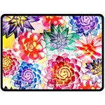 Colorful Succulents Double Sided Fleece Blanket (Large)  80 x60 Blanket Back