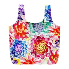 Colorful Succulents Full Print Recycle Bags (l)