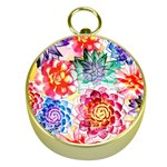 Colorful Succulents Gold Compasses Front