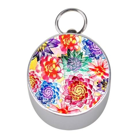 Colorful Succulents Mini Silver Compasses