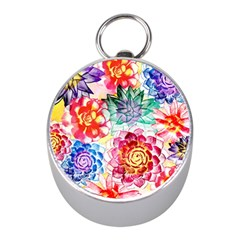 Colorful Succulents Mini Silver Compasses