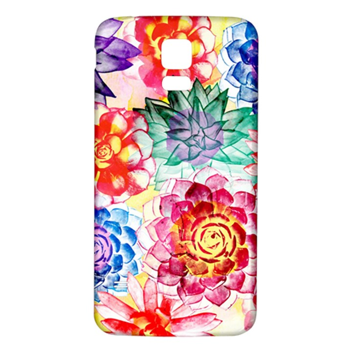 Colorful Succulents Samsung Galaxy S5 Back Case (White)