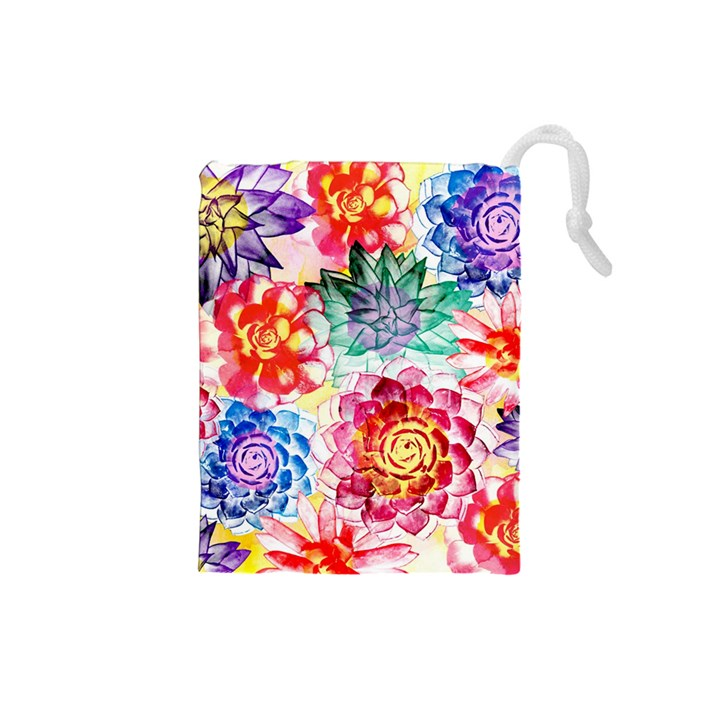Colorful Succulents Drawstring Pouches (Small)