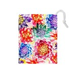 Colorful Succulents Drawstring Pouches (Medium)  Front