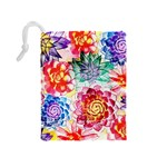 Colorful Succulents Drawstring Pouches (Medium)  Back