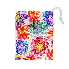 Colorful Succulents Drawstring Pouches (large)