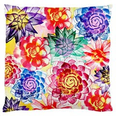 Colorful Succulents Large Flano Cushion Case (one Side)