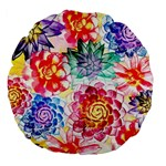 Colorful Succulents Large 18  Premium Flano Round Cushions Back