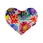 Colorful Succulents Standard 16  Premium Flano Heart Shape Cushions Front