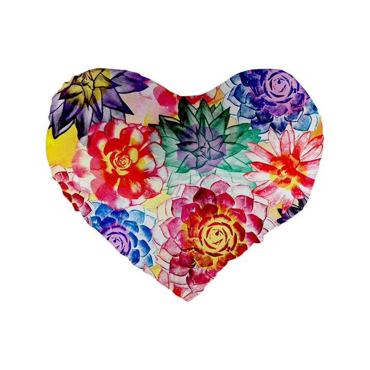 Colorful Succulents Standard 16  Premium Flano Heart Shape Cushions