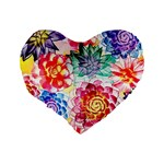 Colorful Succulents Standard 16  Premium Flano Heart Shape Cushions Back