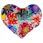 Colorful Succulents Large 19  Premium Flano Heart Shape Cushions Front