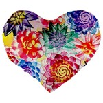 Colorful Succulents Large 19  Premium Flano Heart Shape Cushions Back