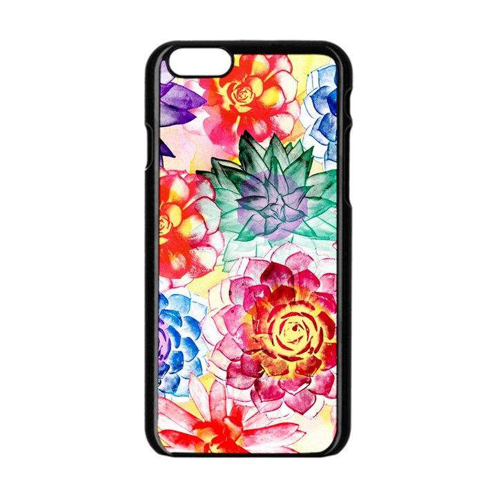 Colorful Succulents Apple iPhone 6/6S Black Enamel Case