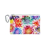 Colorful Succulents Canvas Cosmetic Bag (S) Front