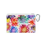 Colorful Succulents Canvas Cosmetic Bag (S) Back