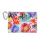 Colorful Succulents Canvas Cosmetic Bag (M) Front