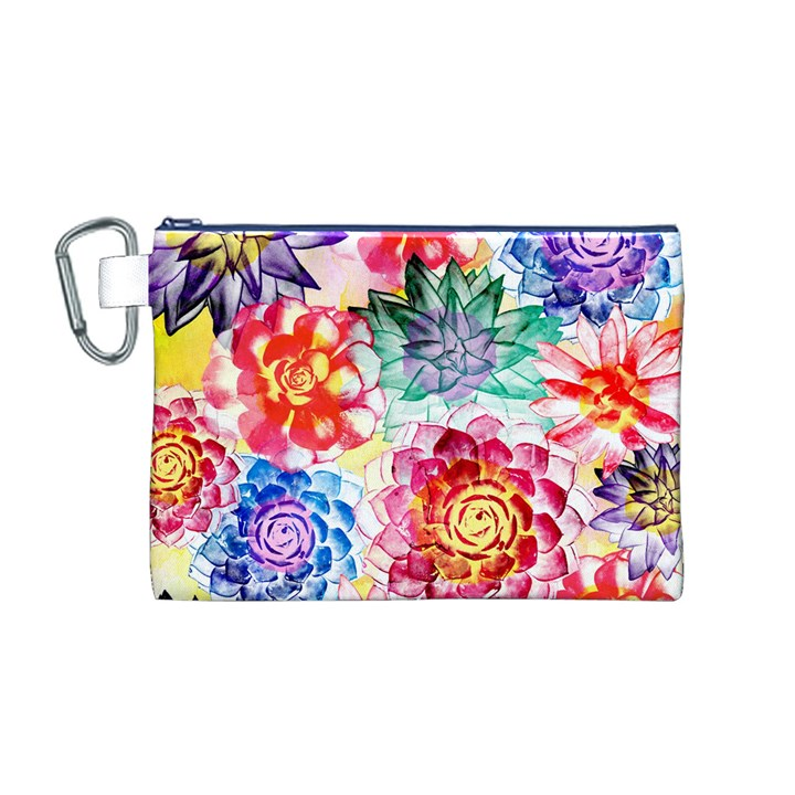 Colorful Succulents Canvas Cosmetic Bag (M)