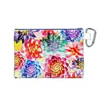 Colorful Succulents Canvas Cosmetic Bag (M) Back