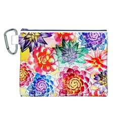 Colorful Succulents Canvas Cosmetic Bag (L)
