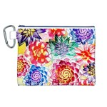 Colorful Succulents Canvas Cosmetic Bag (L) Front