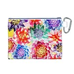Colorful Succulents Canvas Cosmetic Bag (L) Back