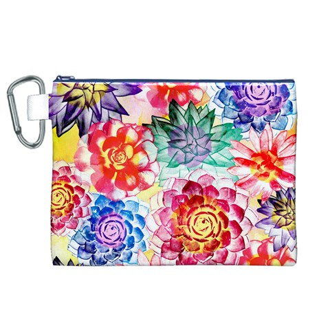 Colorful Succulents Canvas Cosmetic Bag (XL)