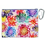 Colorful Succulents Canvas Cosmetic Bag (XXL) Back
