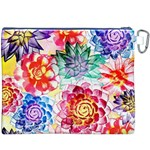 Colorful Succulents Canvas Cosmetic Bag (XXXL) Back
